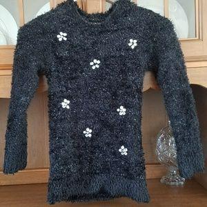 SO sz 7/8 Black/Silver Fuzzy Sweater